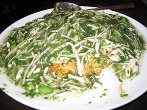 Pan-fried Noodles with Chicken and Herb Sauce